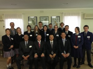Warrnambool students with the VictorianPremier, Consul-General of Turkey, the Mayor of Warrnambool, Chairman of FOGI and the sponsoring Manager of Fairy Chimneys Travel